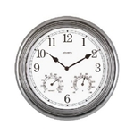 "Chaney, Chaney Pewter Indoor/Outdoor Combo Clock, Chaney Indoor/Outdoor Clock, Pewter Clock, 13.5"" Pewter Clock, Combination CLock, Hygrometer, THermometer, Clock, Relative Humidity, Temperature, Time, 13.5"" Pewter COmbination Clock072397009201"